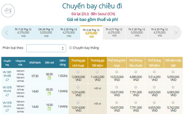 Bảng giá vé máy bay Vietnam Airlines Đà Lạt đi Seoul mới nhất