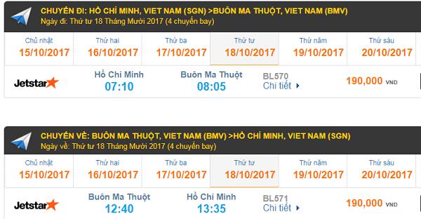Giá vé máy bay TP.HCM - Buôn Ma Thuột Jetstar