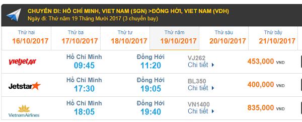 Giá vé máy bay TP.HCM đi Đồng Hới