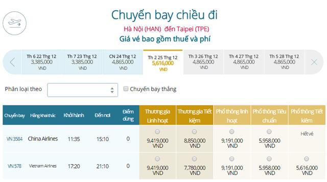 Bảng giá vé máy bay Vietnam Airlines Hà Nội đi Đài Bắc mới nhất