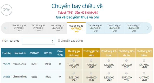 Bảng giá vé máy bay Vietnam Airlines Đài Bắc Hà Nội mới nhất