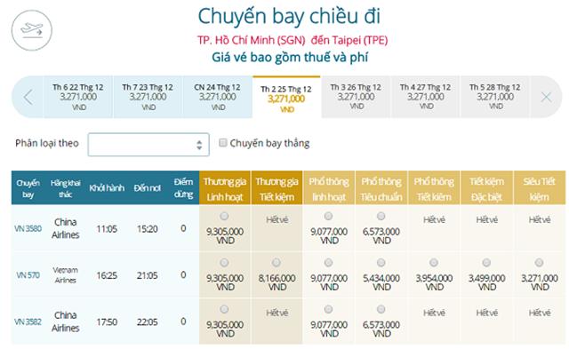 Bảng giá vé máy bay Vietnam Airlines TP Hồ Chí Minh đi Đài Bắc mới nhất