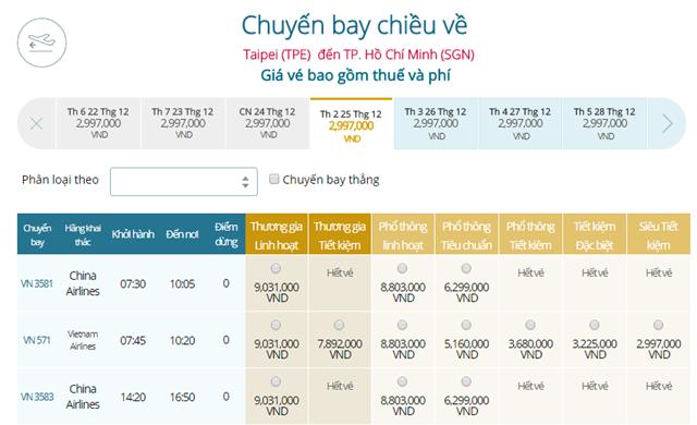 Bảng giá vé máy bay Vietnam Airlines Đài Bắc đi TP Hồ Chí Minh mới nhất