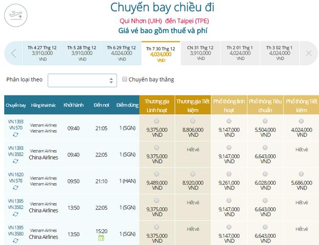 Bảng giá vé máy bay Vietnam Airlines Qui Nhơn đi Đài Bắc mới nhất