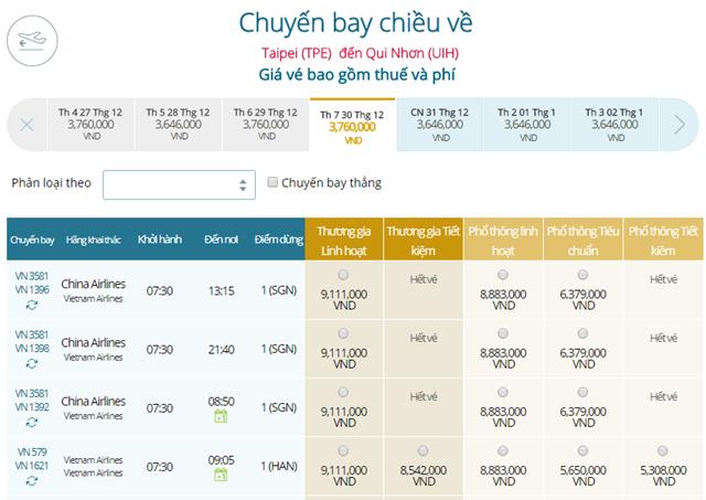 Bảng giá vé máy bay Vietnam Airlines Đài Bắc đi Qui Nhơn mới nhất