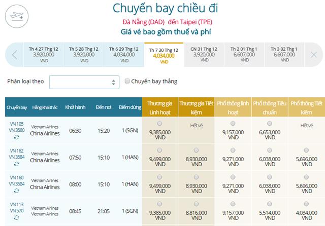 Bảng giá vé máy bay Vietnam Airlines Đà Nẵng đi Đài Bắc mới nhất