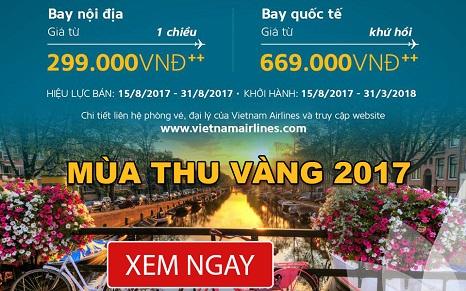 Khuyến mãi Mùa Thu Vàng cùng Vietnam Airlines