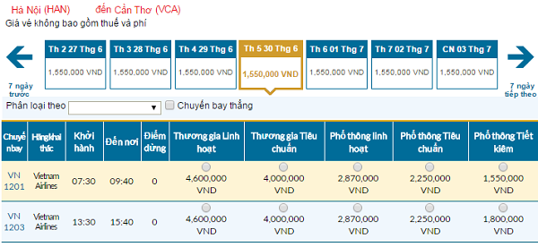 Tổng hợp thông tin vé Vietnam Airline đi Cần Thơ