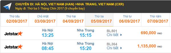 Giá vé máy bay hãng hàng không Jetstar Hà Nội đi Nha Trang