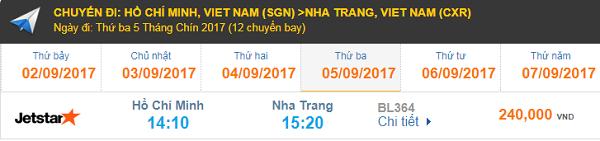 Giá vé máy bay hãng hàng không Jetstar HCM đi Nha Trang