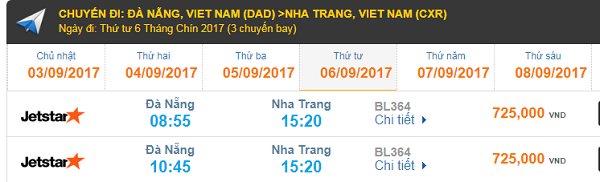 Giá vé máy bay hãng hàng không Jetstar Đà Nẵng đi Nha Trang