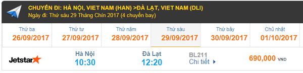 Giá vé máy bay Jetstar đi Đà Lạt từ Hà Nội