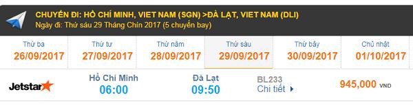 Giá vé máy bay Jetstar đi Đà Lạt từ Hồ Chí Minh