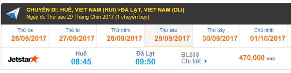 Giá vé máy bay Jetstar đi Đà Lạt từ Huế