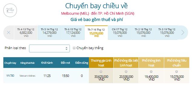 Bảng vé máy bay từ Melbourne đi Hồ Chí Minh