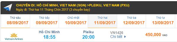 Vé máy bay đi Pleiku hãng Vietnam Airlines