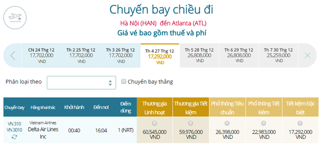 Giá vé máy bay từ Hà Nội đi Atlanta