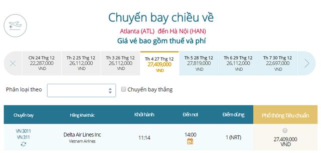 Giá vé máy bay từ Atlanta đi Hà Nội