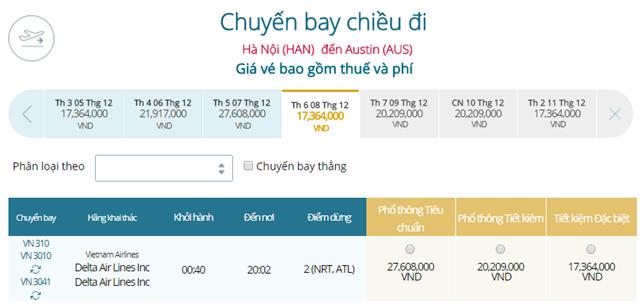Giá vé máy bay từ Hà Nội đi Austin
