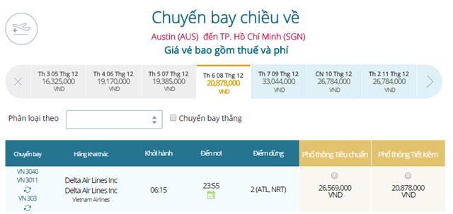 Giá vé máy bay từ Austin đi TPHCM