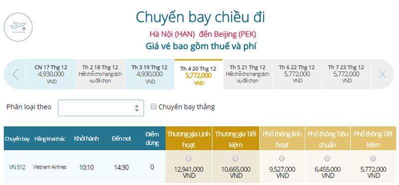 Giá vé máy bay từ Hà Nội đi Bắc Kinh