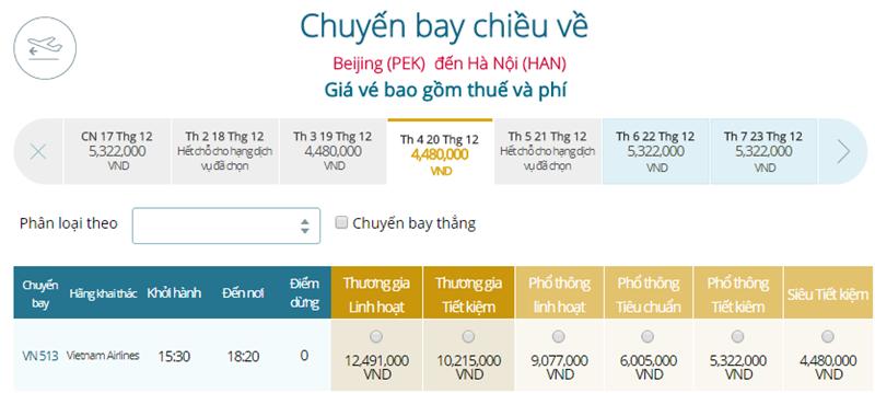 Giá vé máy bay từ Bắc Kinh đi Hà Nội