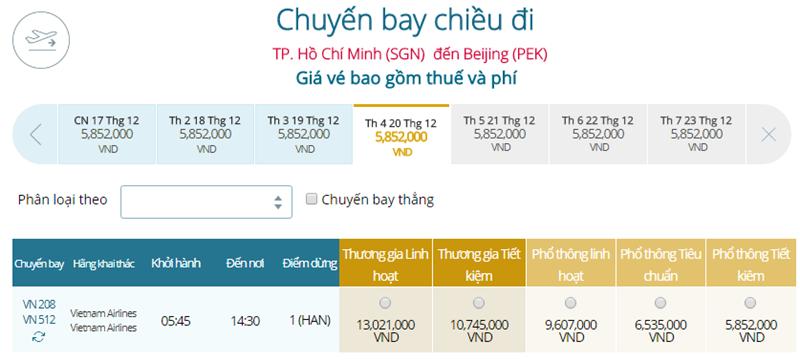 Giá vé máy bay từ TPHCM đi Bắc Kinh