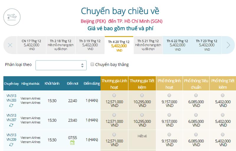 Giá vé máy bay từ Bắc Kinh đi TPHCM
