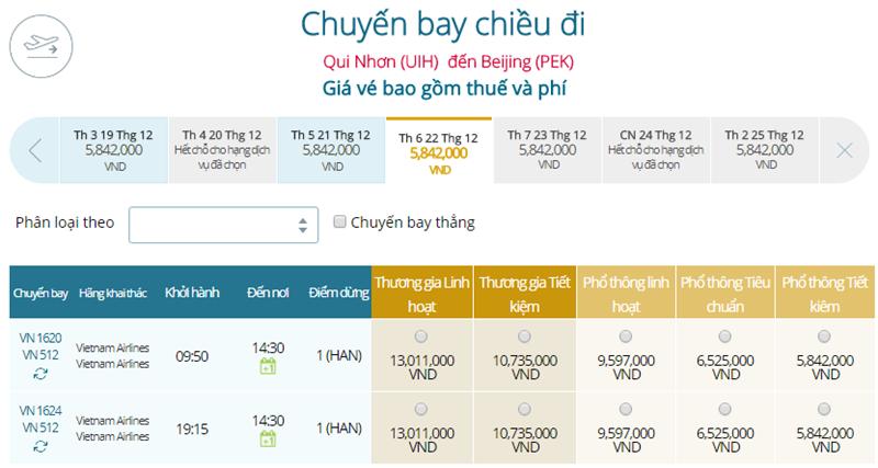 Giá vé máy bay từ Quy Nhơn đi Bắc Kinh