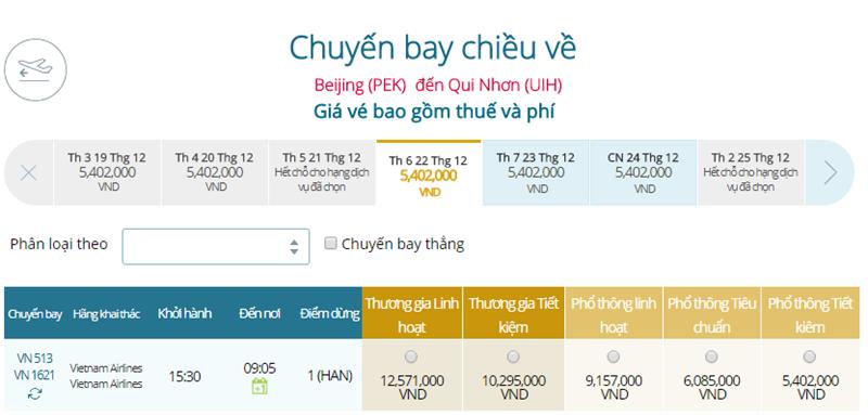 Giá vé máy bay từ Bắc Kinh đi Quy Nhơn