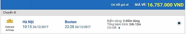 Giá vé máy bay từ Hà Nội đi Boston