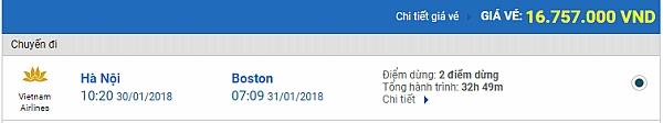 Giá vé máy bay từ Hà Nội đi Boston hãng Vietnam Airlines