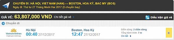 Giá vé máy bay từ Hà Nội đi Boston Vietnam Airlines