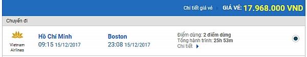 Giá vé máy bay từ TPHCM đi Boston