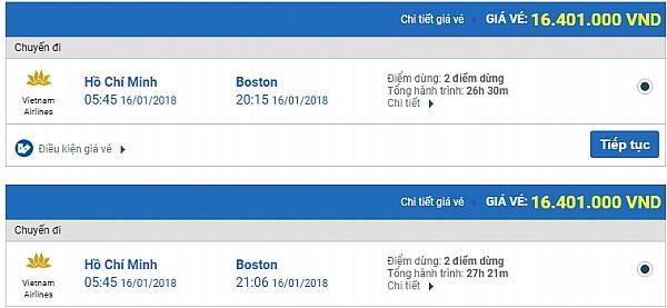Giá vé máy bay từ TPHCM đi Boston hãng Vietnam Airlines