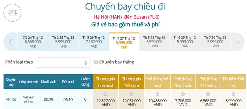 Giá vé máy bay từ Hà Nội đi Busan