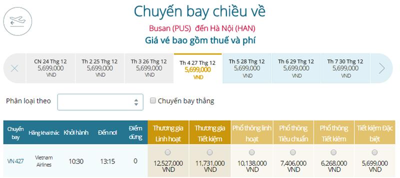 Giá vé máy bay từ Busan đi Hà Nội