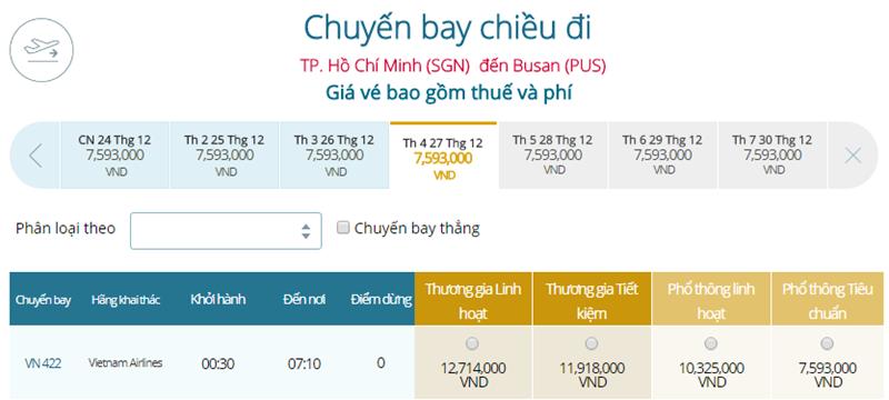 Giá vé máy bay từ TPHCM đi Busan