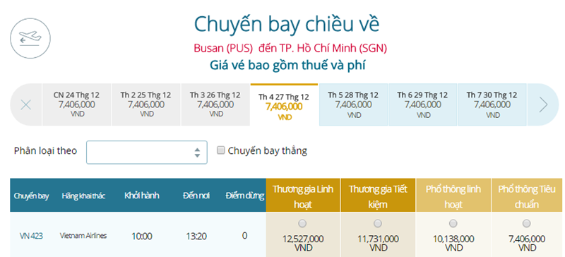Giá vé máy bay từ Busan đi TPHCM