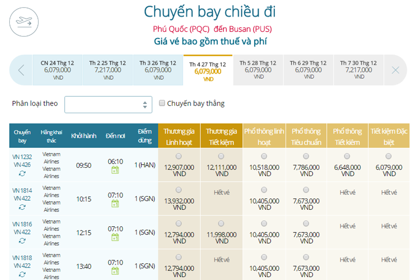 Giá vé máy bay từ Phú Quốc đi Busan