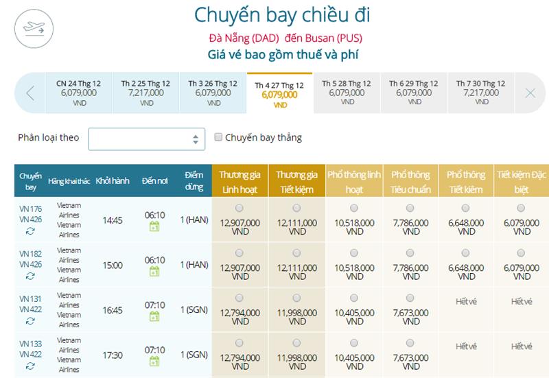 Giá vé máy bay từ Đà Nẵng đi Busan