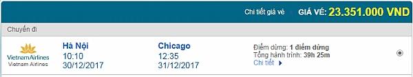 Giá vé máy bay từ Hà Nội đi Chicago hãng Vietnam Airlines