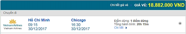 Giá vé máy bay từ TPHCM đi Chicago