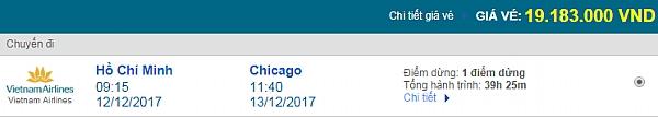 Giá vé máy bay từ TPHCM đi Chicago Vietnam Airlines