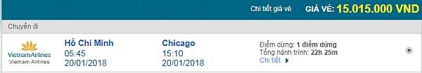 Giá vé máy bay từ TPHCM đi Chicago hãng Vietnam Airlines