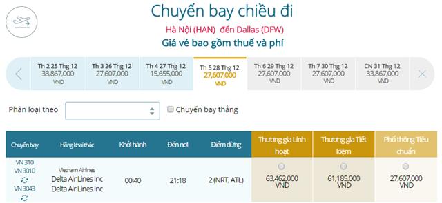 Giá vé máy bay từ Hà Nội đi Dallas