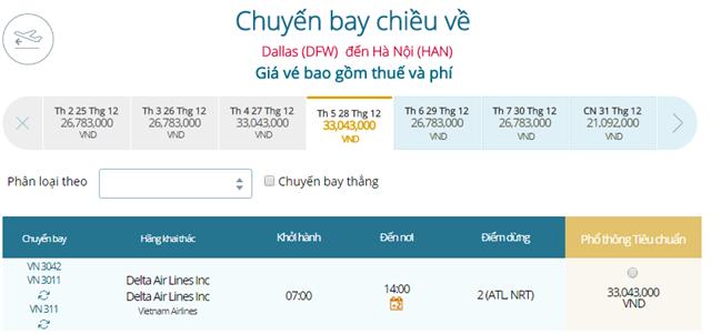 Giá vé máy bay từ Dallas đi Hà Nội