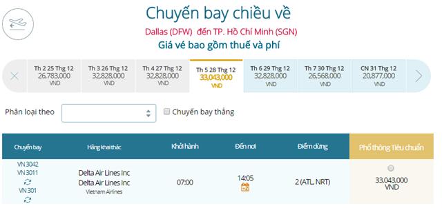 Giá vé máy bay từ Dallas đi TPHCM