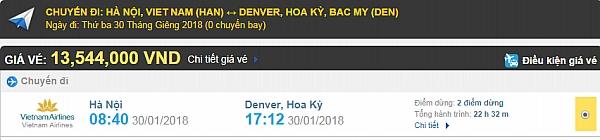 Giá vé máy bay từ Hà Nội đi Denver hãng Vietnam Airlines