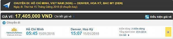 Giá vé máy bay TPHCM đi Denver